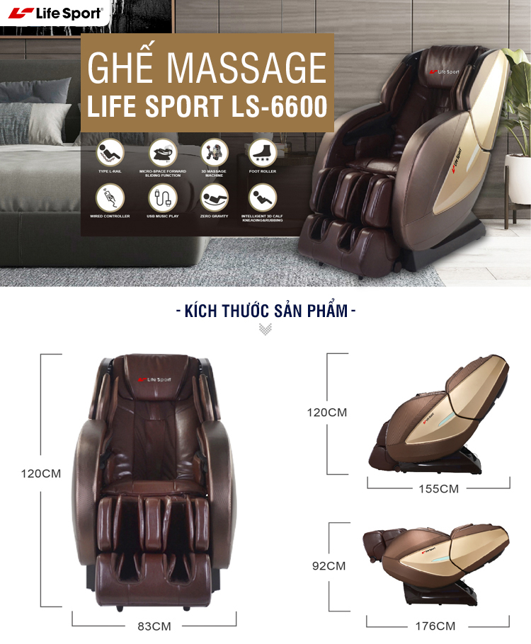 Ghế massage LifeSport LS-6600